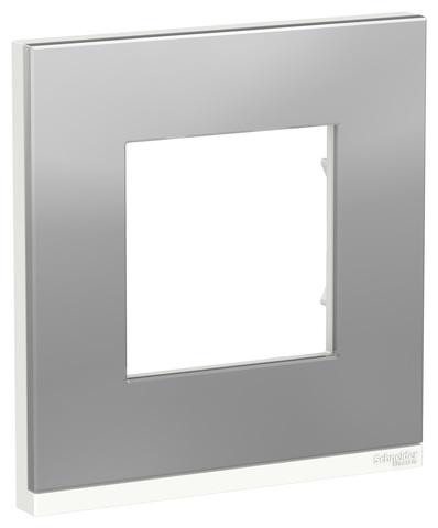 Рамка на 1 пост, горизонтальная. Цвет Алюминий матовый/белый. Schneider Electric Unica Pure. NU600280