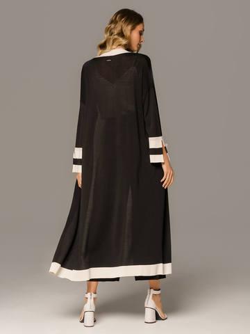 Женский удлиненный кардиган черного цвета с контрастными вставками - фото 2