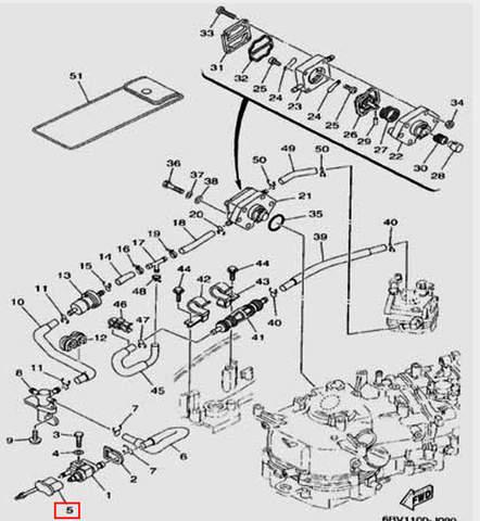 Заглушка топливного коннектора для лодочного мотора F5 Sea-PRO(9-5)