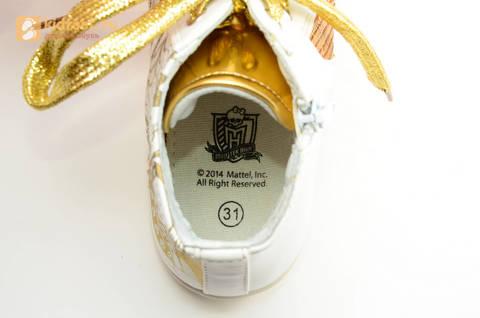 Кеды Монстер Хай (Monster High) на молнии и шнурках для девочек, цвет золотой белый. Изображение 13 из 13.