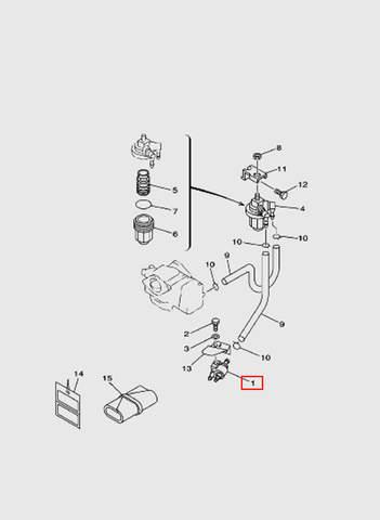 Коннектор топливный   для лодочного мотора T15, OTH 9,9 SEA-PRO (6-1)