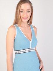 Евромама. Сорочка для беременных и кормящих с V-образным вырезом, меланж голубой вид 4