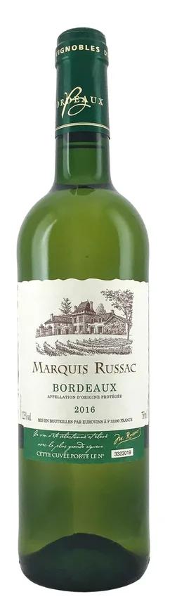Вино Маркиз Рюссак защ. наим. места происх. рег. Бордо АОР белое сухое кат 0,75л. Франция