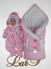 Зимний набор на выписку новорожденных из роддома Бабочка (розовый)
