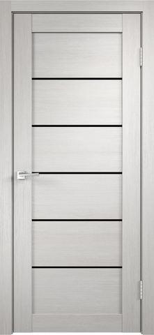 > Экошпон VellDoris Linea-1, стекло лакобель чёрное, цвет дуб белый, остекленная