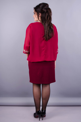 Алмаз. Вечернее женское платье плюс сайз. Бордо.