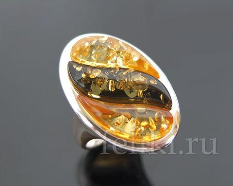 кольцо с янтарем кс-7058