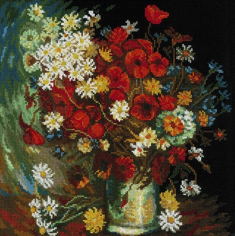 Ваза с маками, васильками и хризантемами по мотивам картины В. Ван Гога
