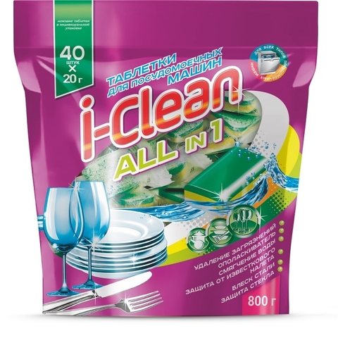 Фабрика Ромакс i-Clean Таблетки для посудомоечных машин All in 1 40шт. 800г