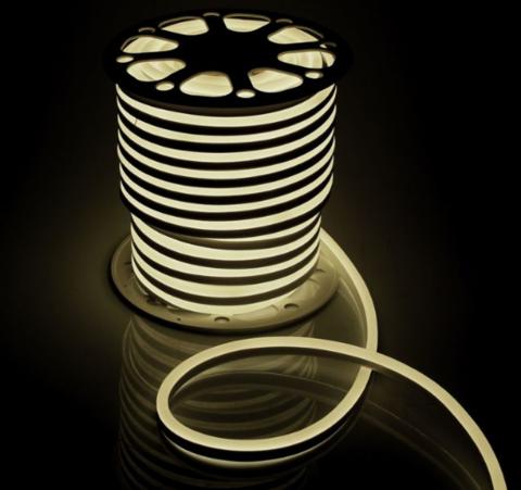 Гибкий неон 15*25 мм, светодиодный | Тёплого свечения - 25м