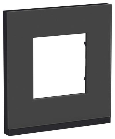 Рамка на 1 пост, горизонтальная. Цвет Черное стекло/антрацит. Schneider Electric Unica Pure. NU600286