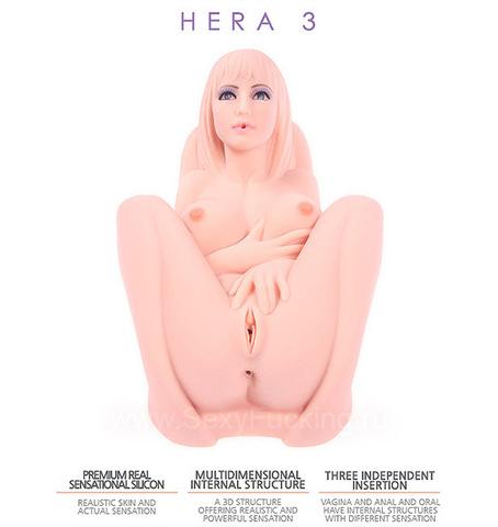 Мега мастурбатор женское тело 3D, Kokos Hera 3 (три отверстия с вибрацией ротацией и голосом)