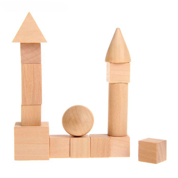 Набор геометрических фигур из дерева