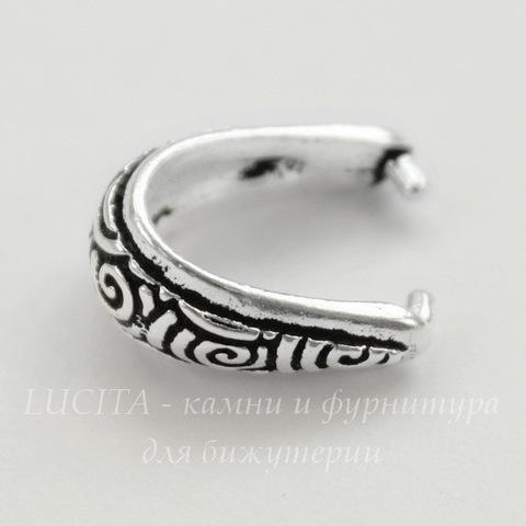 """Держатель для кулона TierraCast """"Спирали"""" 15х10х7 мм (цвет-античное серебро)"""