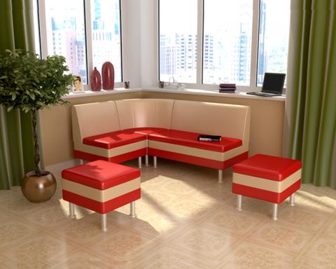 Кухонный уголок с пуфиками СТАБИО-2 красный / бежевый