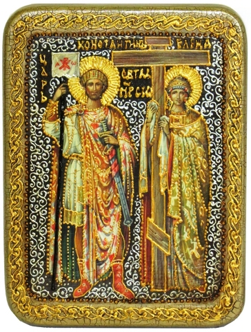 Инкрустированная икона Святые равноапостольные Константин и Елена 20х15см на натуральном дереве в подарочной коробке