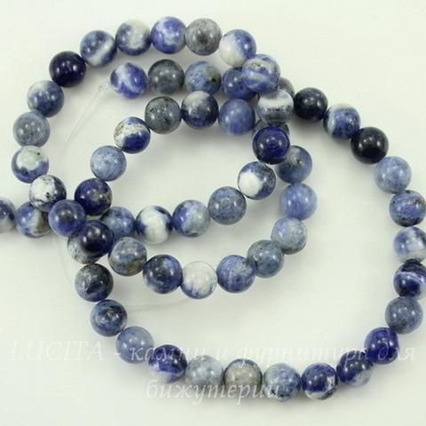 Бусина Содалит (Категория AB), шарик, цвет - синий с белым, 6 мм, нить