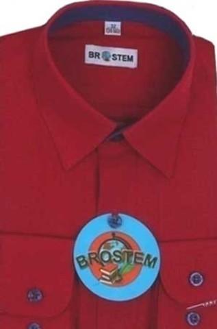 BROSTEM Рубашка для мальчика школьная 8052d бордовая