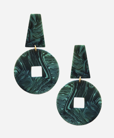 Серьги Derviche Marble Green
