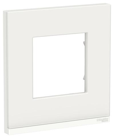 Рамка на 1 пост, горизонтальная. Цвет Белое стекло/белый. Schneider Electric Unica Pure. NU600285