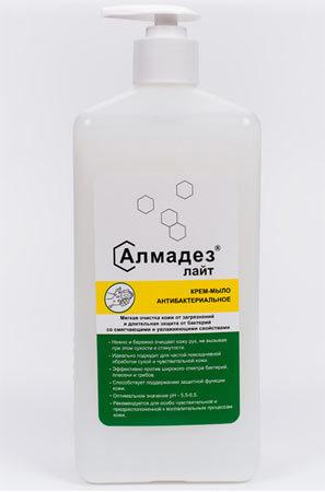Антибактериальное крем-мыло Алмадез-лайт, 1 л., насос-дозатор Алмадез-лайт-1л-с-дозатором.jpg
