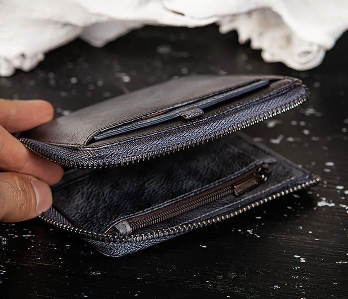 WL331-3 Мужской кошелек из кожи со вкладышем и монетницей фото 04