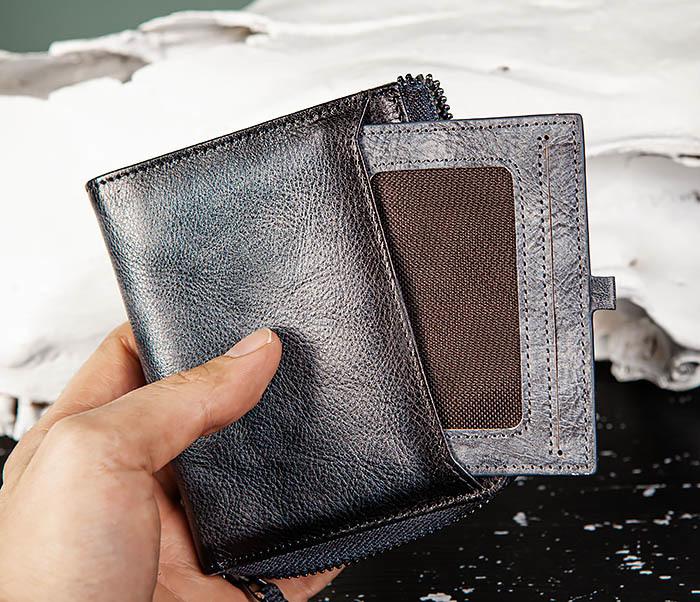 WL331-3 Мужской кошелек из кожи со вкладышем и монетницей фото 05