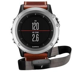 Спортивные смарт часы Garmin Fenix 3 Sapphire серебристые с кожаным ремешком (с датчиком) 010-01338-61