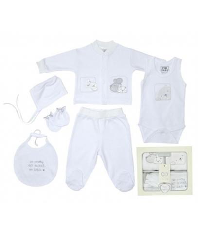 Набор одежды для детей FIMBABY 200074 от 0 до 6 мес  6 предметов (р.62 белый цвет)