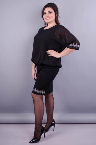 Алмаз. Вишукана жіноча сукня плюс сайз. Чорний.