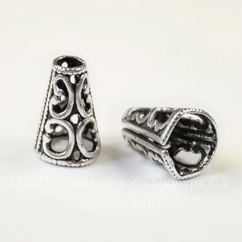 Винтажный декоративный элемент - шапочка - конус 13х9 мм (оксид серебра)