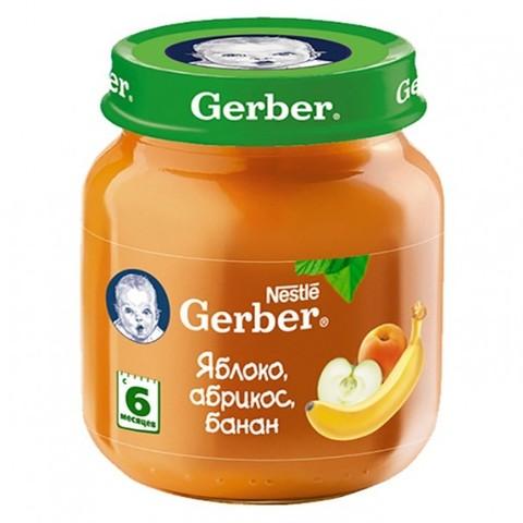 Gerber® Фруктовое пюре Яблоко, абрикос и банан 130 гр