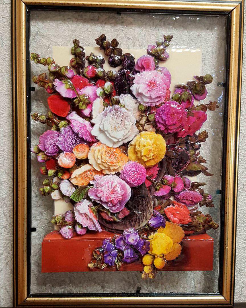 Папертоль Цветы у окна — пример готовой оформленной работы.