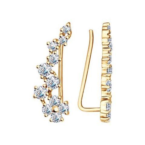 93021058 - Серьги -зажимы из золоченого серебра с фианитами