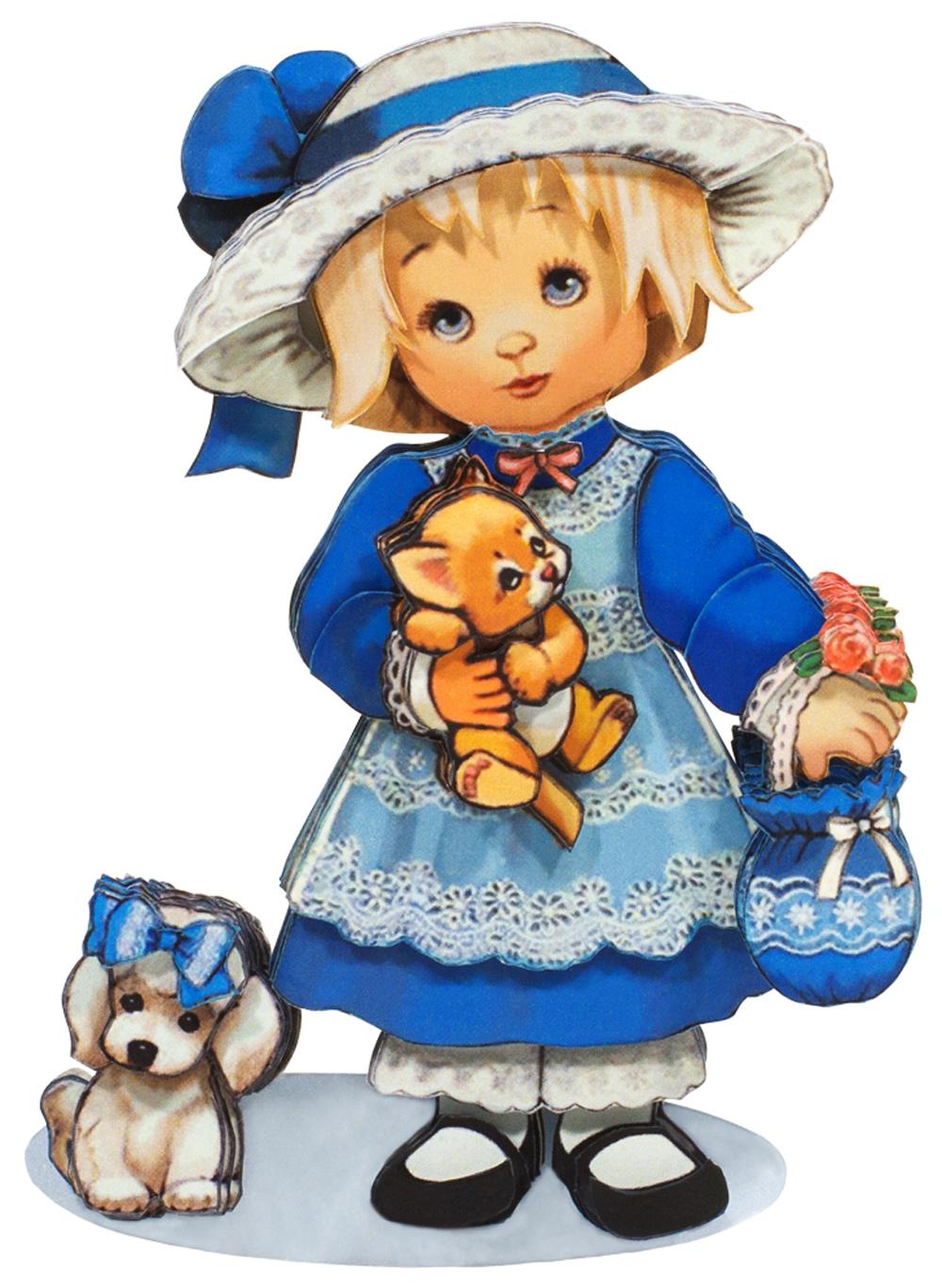 Папертоль Девочка с собачкой — готовая работа, вид спереди.