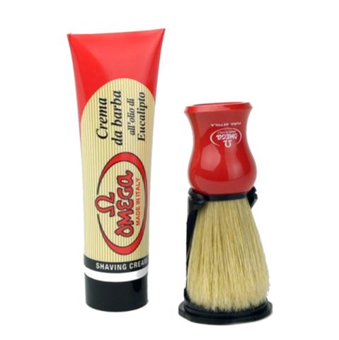 Набор для бритья Omega помазок( кабан )+ подставка + крем для бритья)