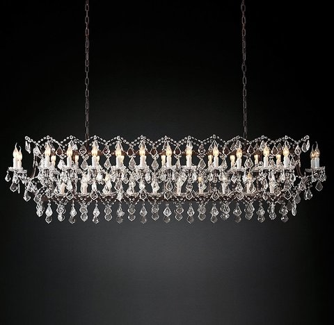 19th C. Rococo Iron & Clear Crystal Rectangular Chandelier 74