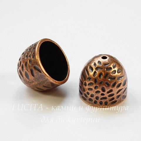 Концевик для шнура 13,5 мм (цвет - античная медь) 16х14 мм