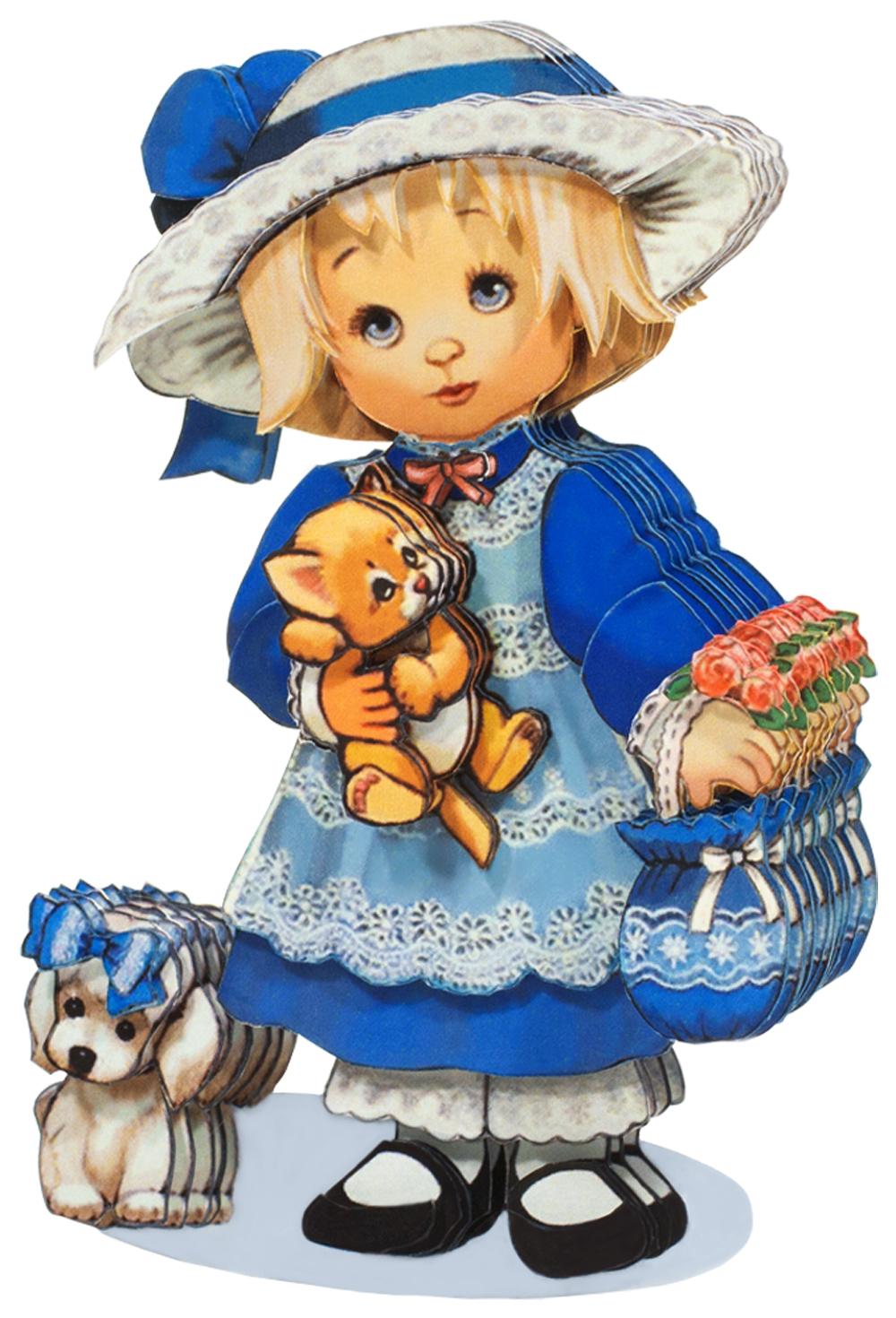 Папертоль Девочка с собачкой — готовая работа, вид сбоку.