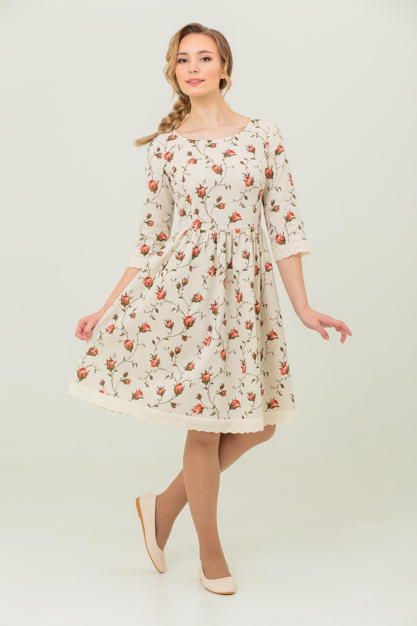 платье с цветами и кружевом Мрия