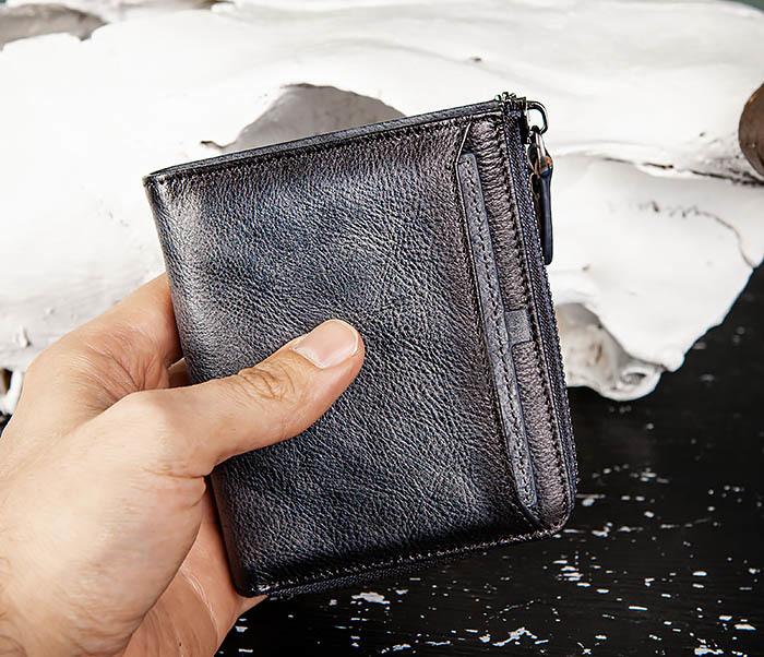 WL331-3 Мужской кошелек из кожи со вкладышем и монетницей фото 11