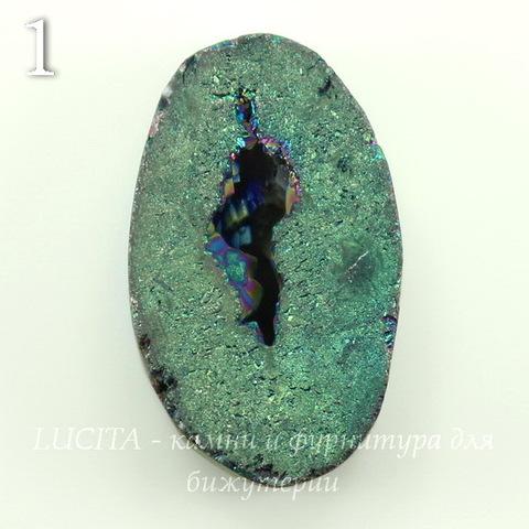 Бусина Агат с Кварцем с жеодой (тониров), цвет - бензиновый, 30-31 мм (№1 (30х21 мм))