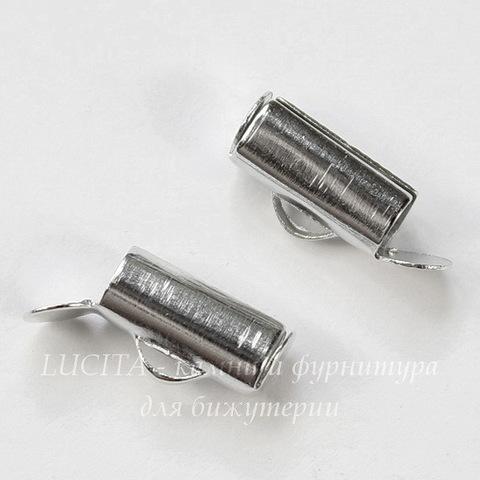 Концевик - трубочка 10х4 мм (цвет - платина), 4 штуки