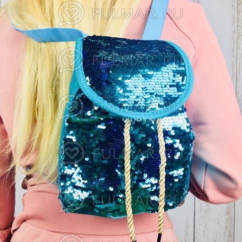 Рюкзак-мешок с пайетками меняющие цвет Голубо-Фиолетовый Мини