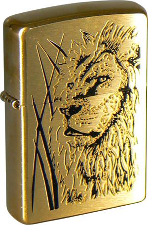 Зажигалка ZIPPO Classic Brushed Brass Chrome™  Лазерная гравировка  ZP-204B Proud Lion