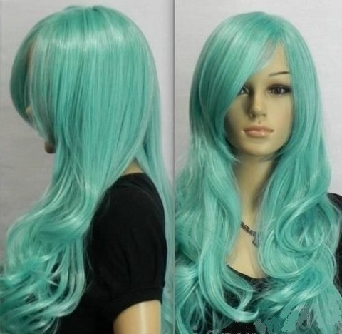 Cosplay Wigs Natural wave Long Aqua Blue