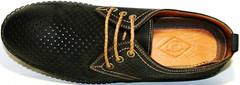 Летние мужские туфли нубук чероные Luciano Bellini дерби на спортивной подошве с обильной перфорацией