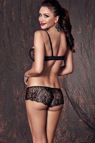 Черный кружевной эротический польский красивый комплект белья Anais лиф и трусики шортики вид сзади