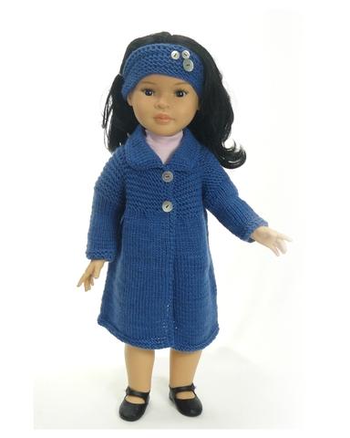 Вязаное пальто - на кукле. Одежда для кукол, пупсов и мягких игрушек.