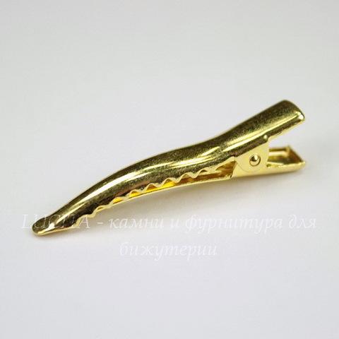 Основа для заколки крокодильчик, изогнутая, 40х10 мм (цвет - золото)